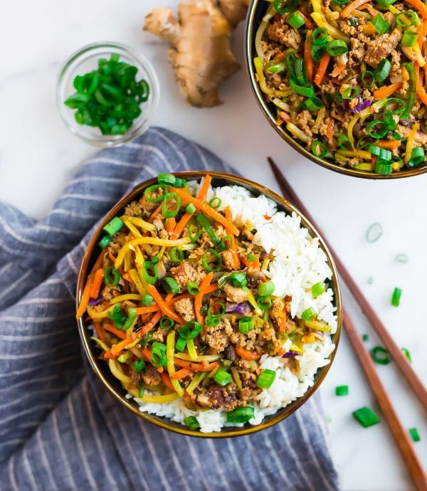 A bowl of rice with ground turkey, veggies, and delicious Asian flavors