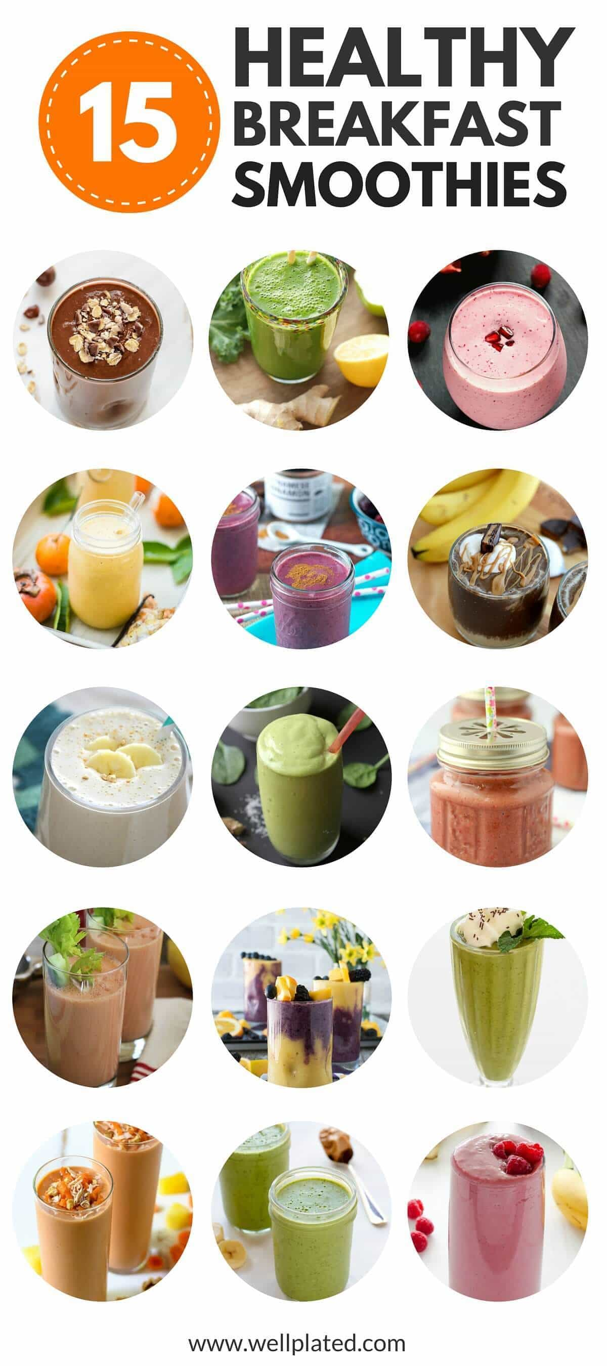 photo collage of 15 healthy breakfast smoothies