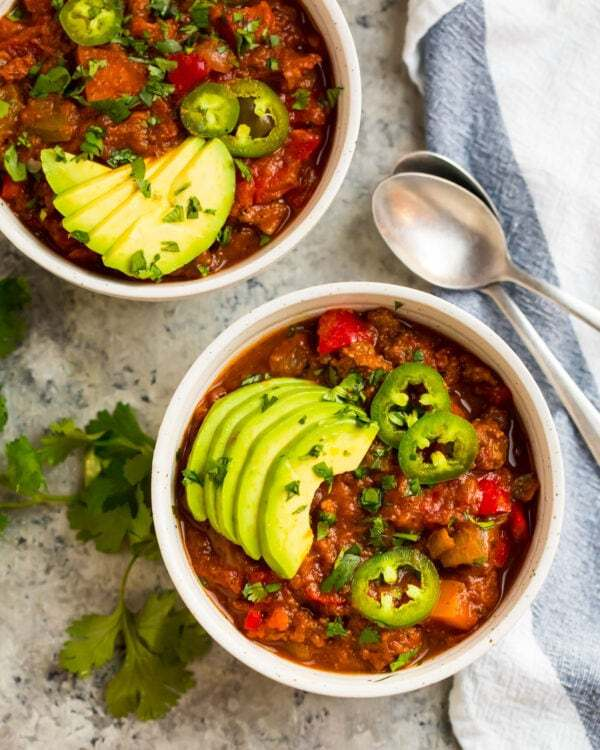 Delicious Whole30 recipe made on the stovetop and served in bowls with avocado slices