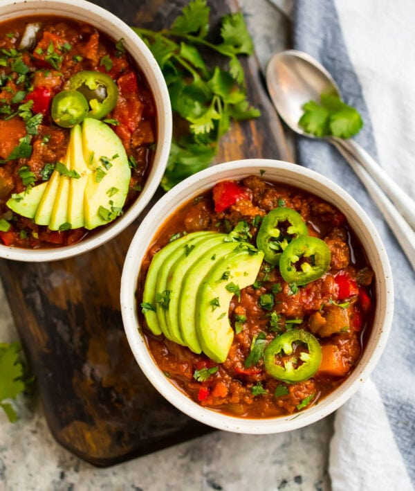 Two bowls of chili that are Whole30 compliant and delicious