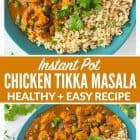 Instant Pot Chicken Tikka Masala – a healthy, easy version of authentic Indian chicken tikka masala, made quick in the pressure cooker. Not too spicy, ultra creamy, filled with flavor, and great leftover too! Recipe includes dairy free option. #instantpot #easy #indian #pressurecooker
