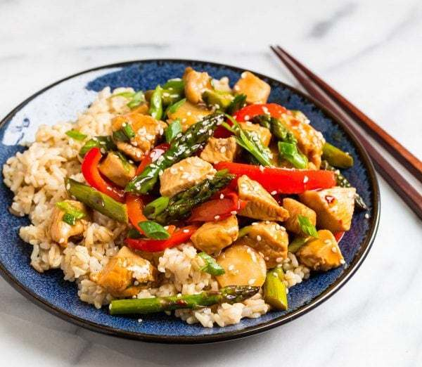 A blue plate of easy and healthy Teriyaki Chicken Stir Fry with rice