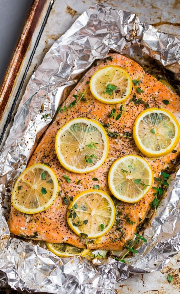 Lemon pepper salmon with skin in aluminum foil that is low in calories