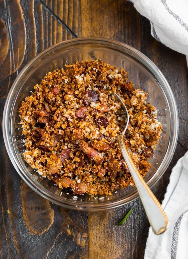 Tasty bacon breadcrumbs in a bowl for topping cauliflower pasta