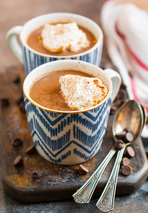 Healthy hot chocolate with cacao or cocoa powder served in mugs with whipped cream