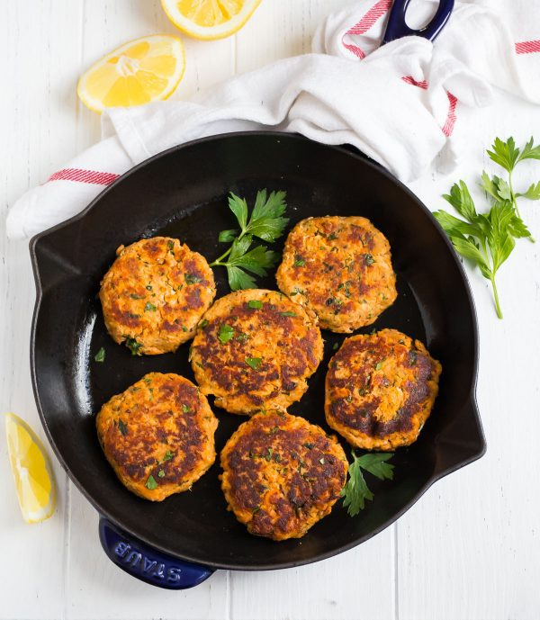 A skillet with easy Salmon Patties