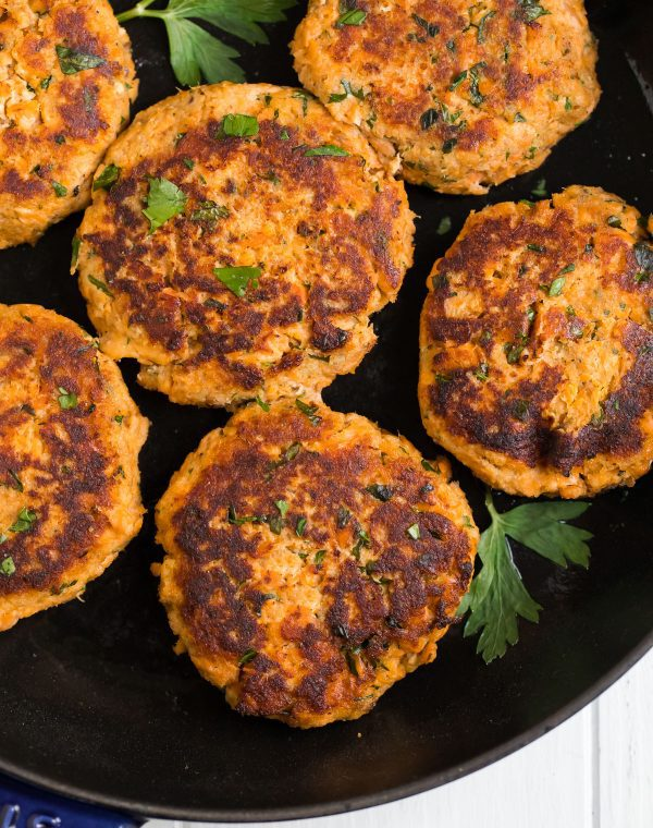 A closeup of cooked Salmon Patties