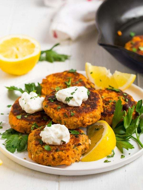 Salmon Patties served on a white plate