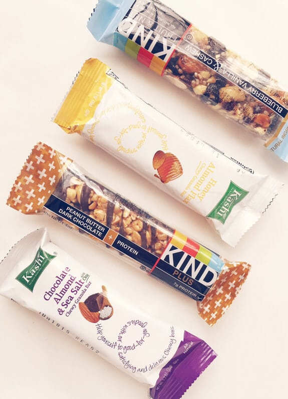 Healthy Granola Bars from the store for healthy snacks