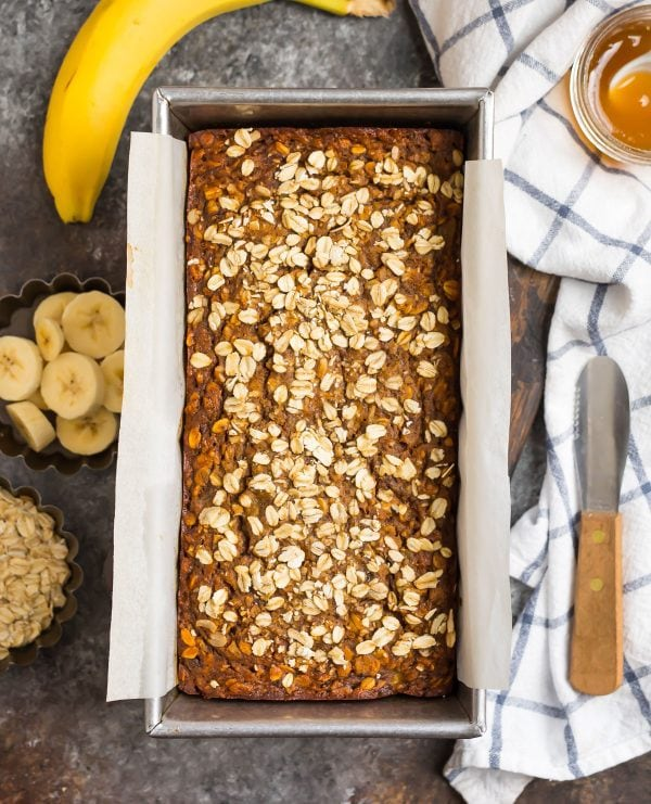 Healthy oatmeal banana bread in a loaf pan made with bananas and oats