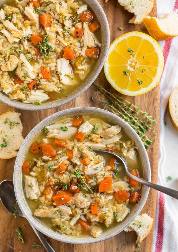 Healthy Slow Cooker Chicken and Rice Soup with Vegetables and Lemon