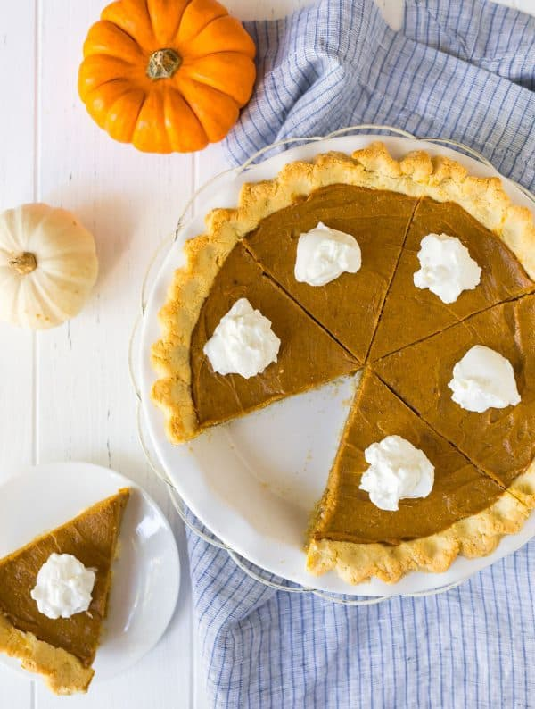 Healthy and delicious vegan pumpkin pie in a pie dish