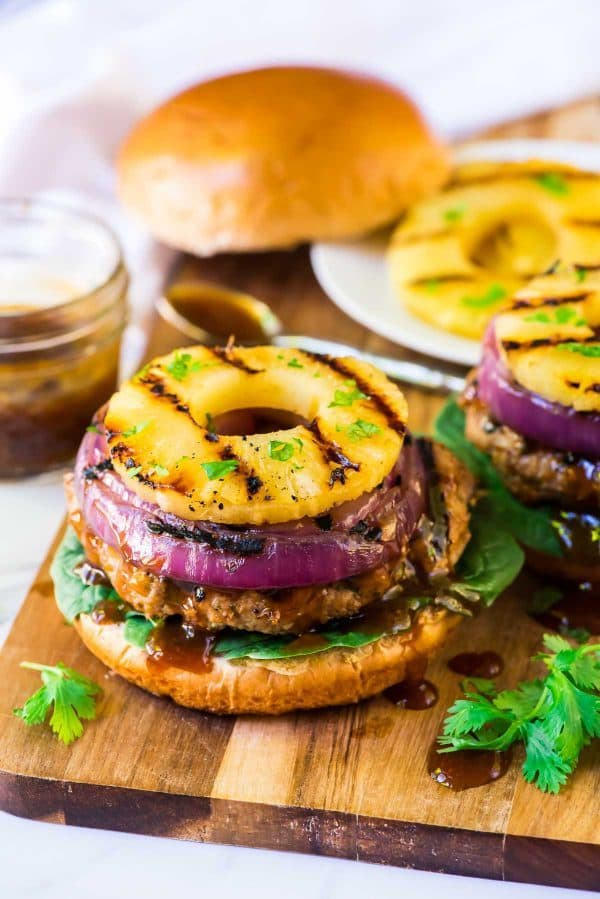 Easy Teriyaki Burgers with Grilled Pineapple. Recipe at wellplated.com | @wellplated