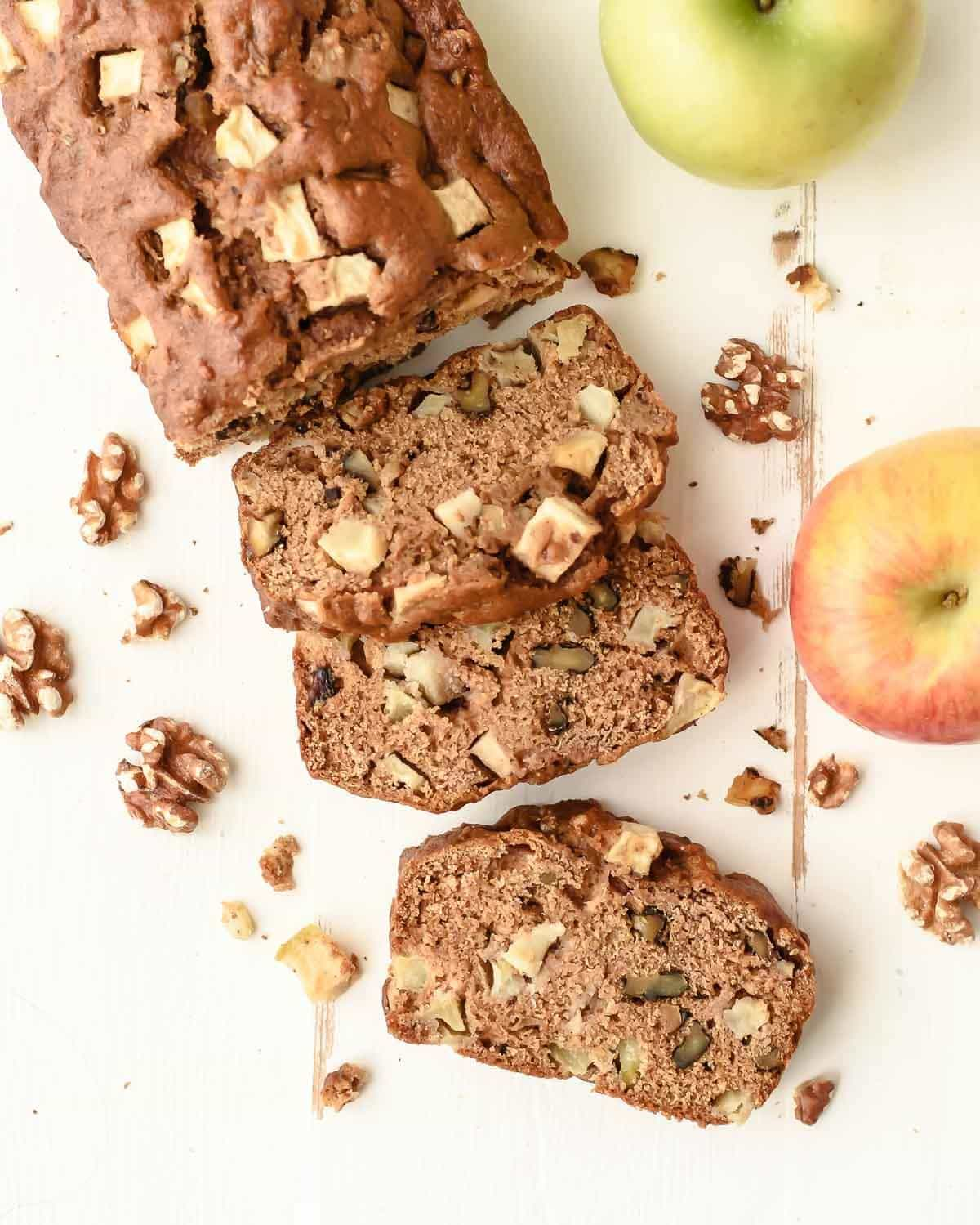 Best Ever Apple Bread - Made with applesauce and PACKED with cinnamon, fresh apples, and walnuts. Healthy, super moist, loaded with flavor, fast and easy!! @wellplated