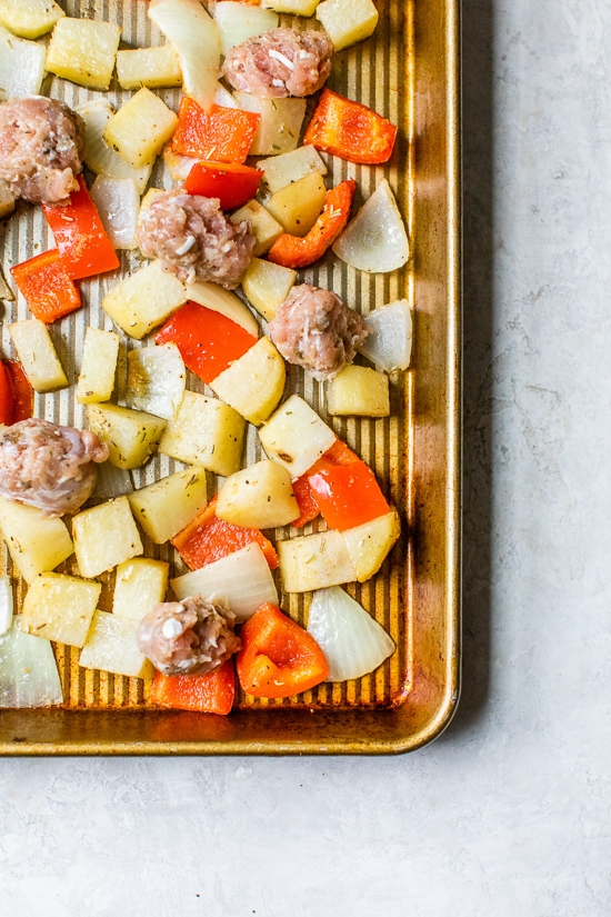 One Pan Roasted Potatoes Sausage and Peppers is one of my favorite, fuss-free sheet pan dinners. Perfect for weeknights and bonus points for easy cleanup!