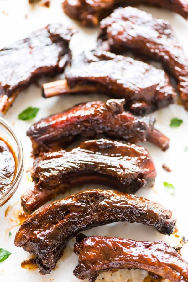 Delicious pork ribs slathered in the best BBQ sauce
