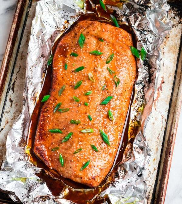 Easy fish recipe baked in foil with a sweet and salty Asian glaze