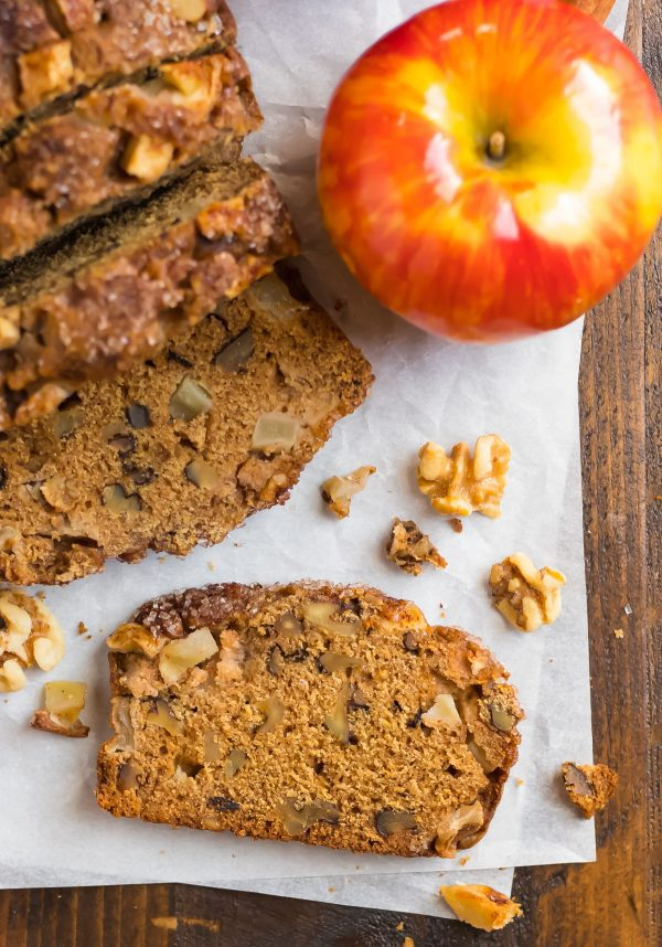 Healthy apple bread made with applesauce and apples