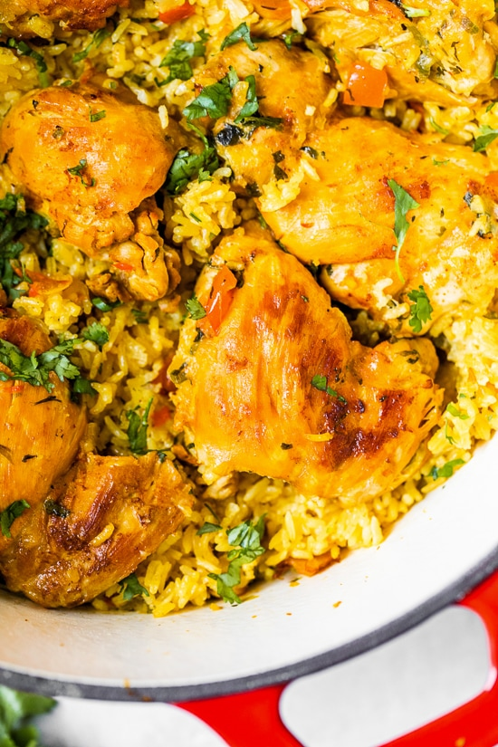 Authentic Arroz Con Pollo, or Latin chicken and rice, is the ultimate one-pot meal. It's a classic Colombian dish that I grew up on that I now love to cook for my family.