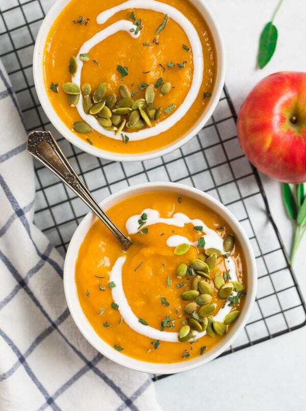 Easy butternut squash soup made in the crockpot served in bowls