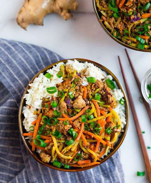 Healthy and delish egg roll in a bowl with ground turkey and veggies