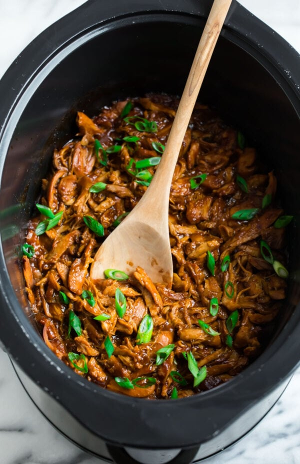 A slow cooker with a healthy crock pot chicken recipe