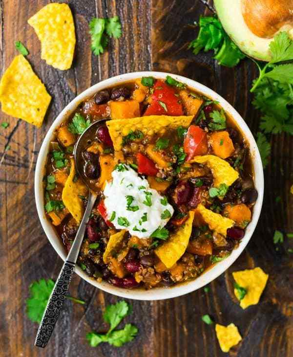 A bowl of hearty and cozy chili made with sweet potato and quinoa