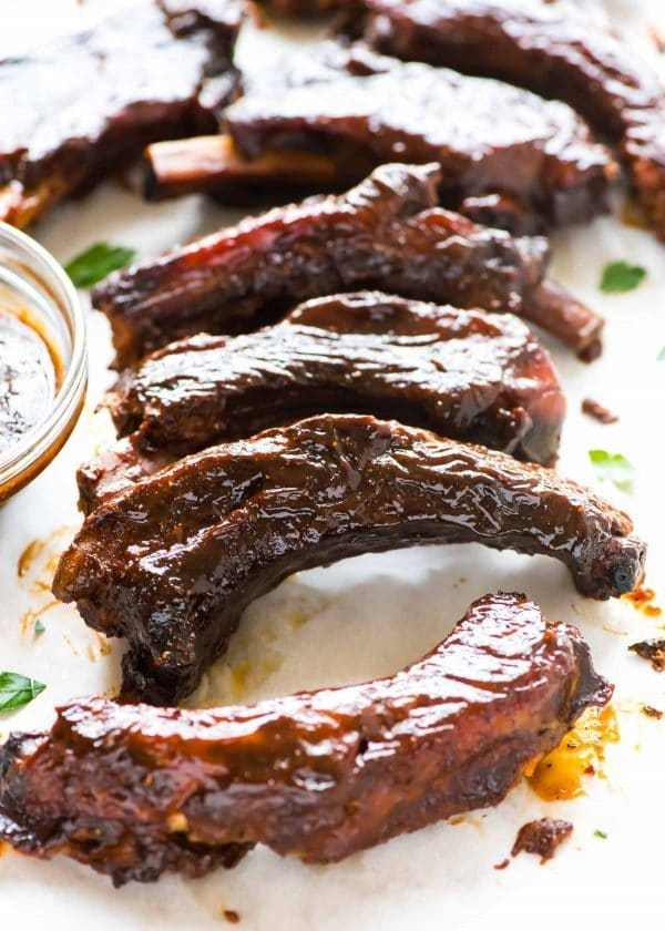 Tasty pork ribs covered in the best BBQ sauce
