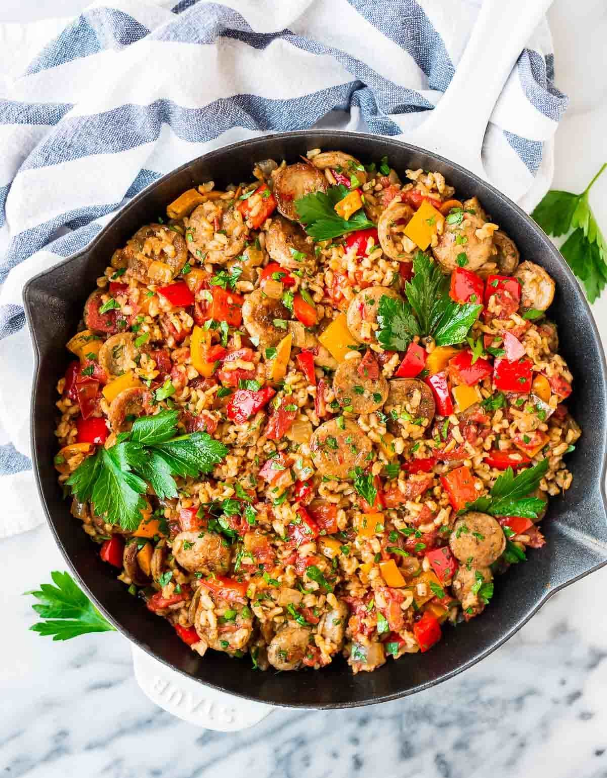 A skillet with the best one pan meal that's packed with veggies