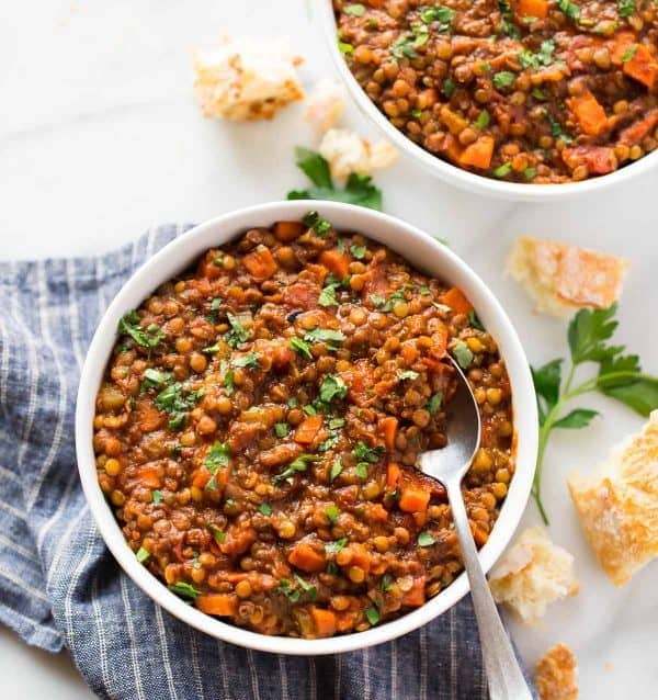 Two bowls of healthy French Instant Pot lentil soup