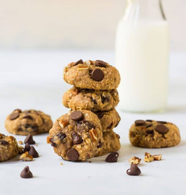 Healthy oatmeal cookies with applesauce, chopped nuts, and chocolate chips