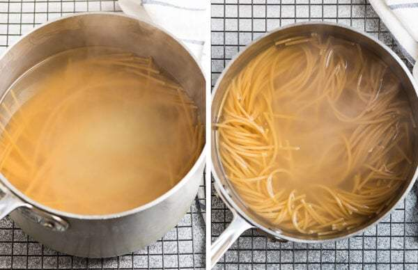Two side-by-side photos of noodles in a pot of water