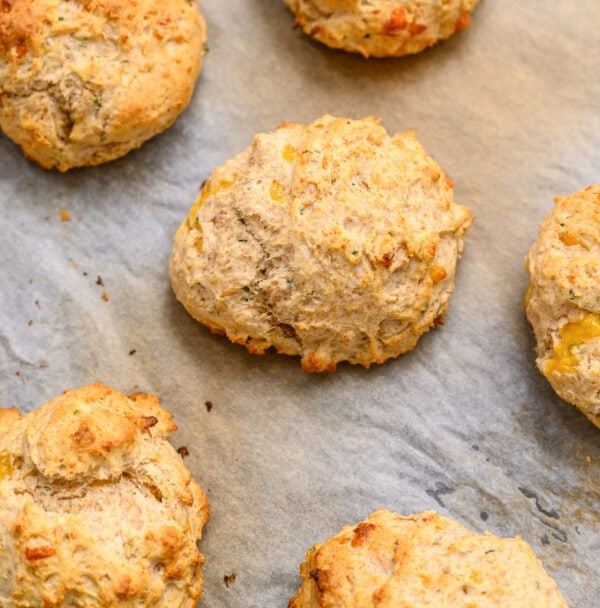 Tasty and easy drop biscuits on parchment paper