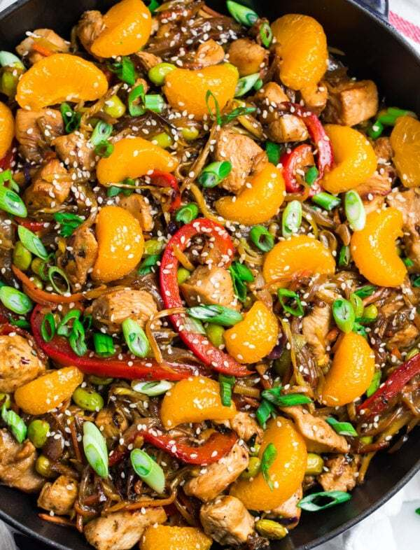 Fresh, colorful, and delicious recipe made in a skillet with vegetables and Mandarin oranges