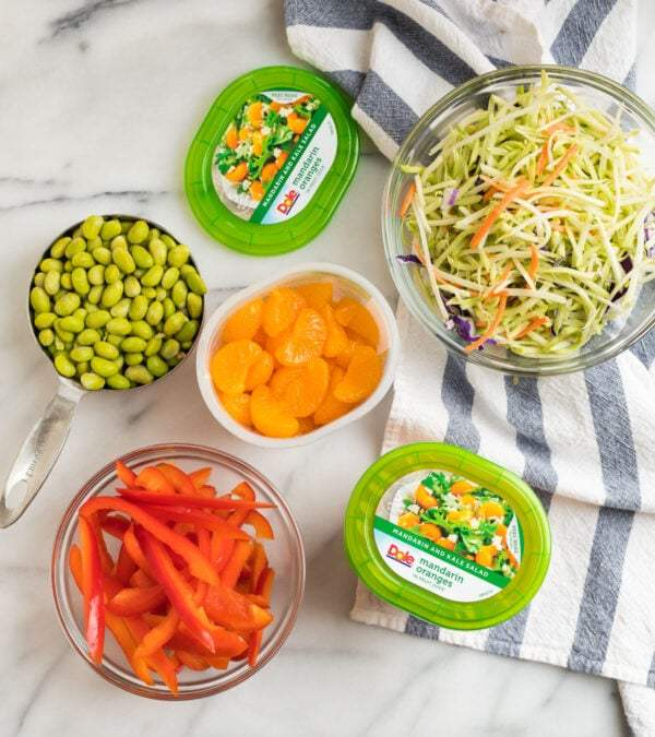 Edamame beans, red bell pepper, Mandarin oranges, and broccoli slaw