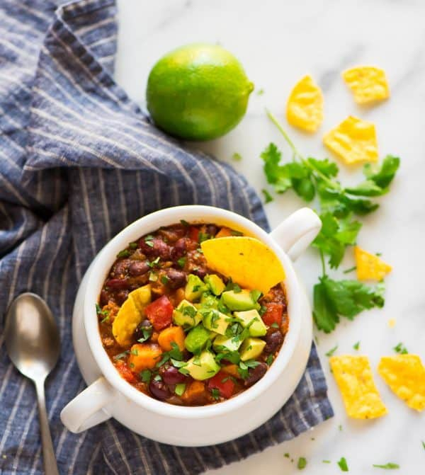 A white soup crock filled with healthy Instant Pot chili