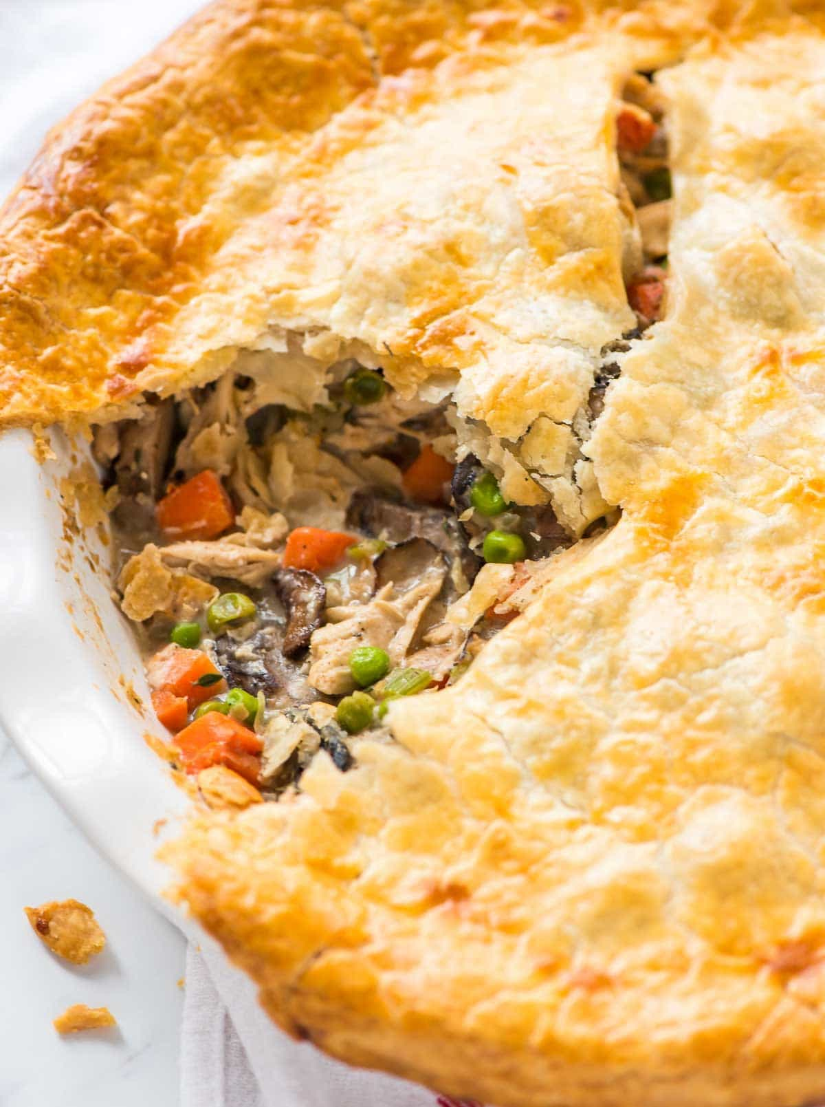 Creamy and rich healthy chicken pot pie with mushrooms