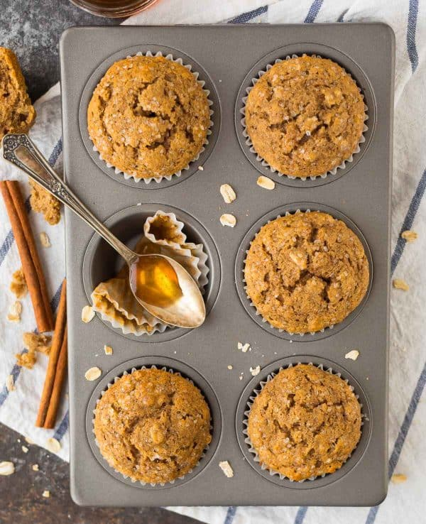 Healthy muffins sweetened naturally with honey in a muffin pan