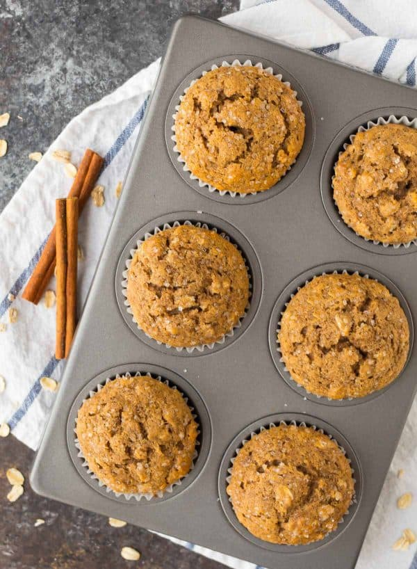 Oatmeal muffins in a muffin pan