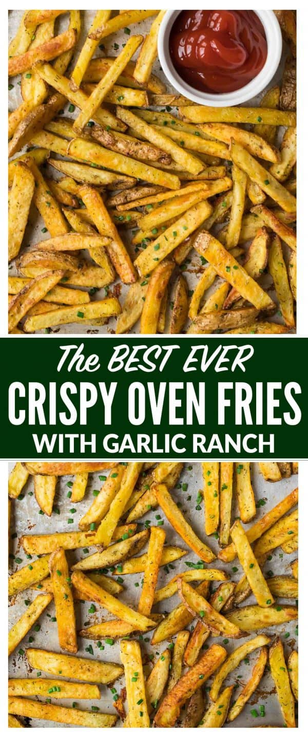 How to make Crispy Oven Baked Fries! Easy recipe that makes the most perfect, healthy homemade baked French fries every time. Includes tips for how to reheat French fries to make them crispy again. #ovenfries #bakedfries #homemade