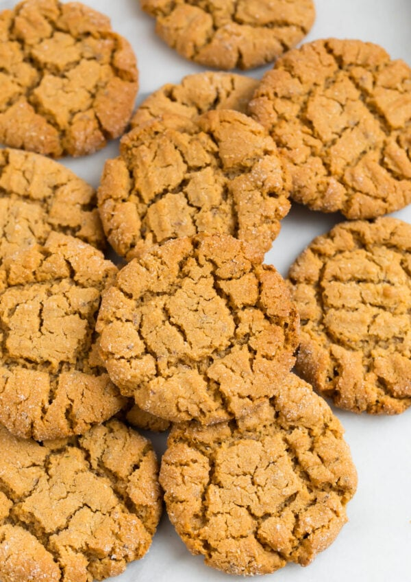 a pile of vegan peanut butter cookies