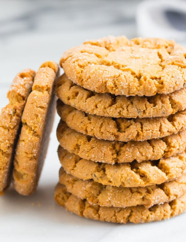 A stack of chewy vegan peanut butter cookies