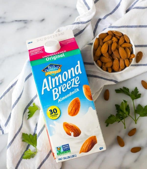 "Almond milk used to make almond ""cream"" for an easy and healthy penne alla vodka recipe"