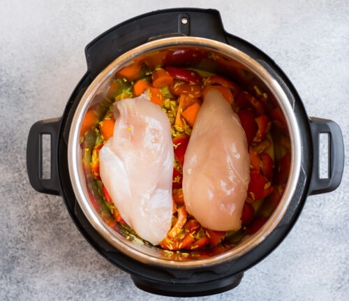 Two chicken breasts in an Instant Pot with vegetables