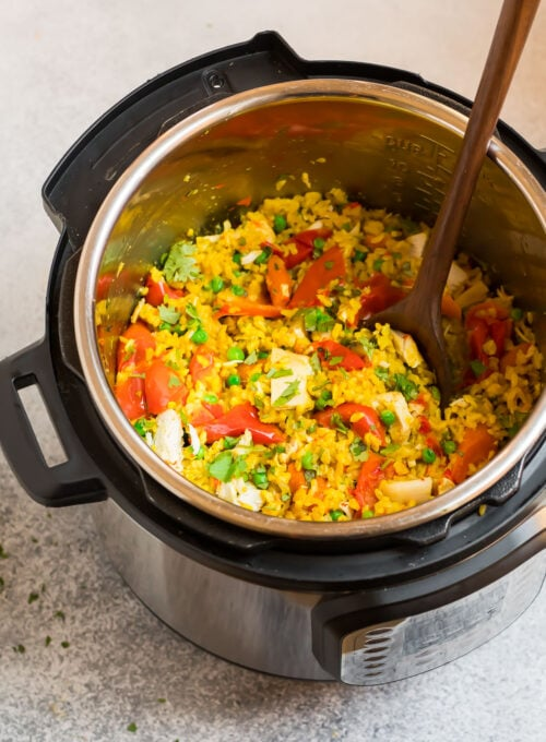 Easy Instant Pot chicken and rice in a pressure cooker