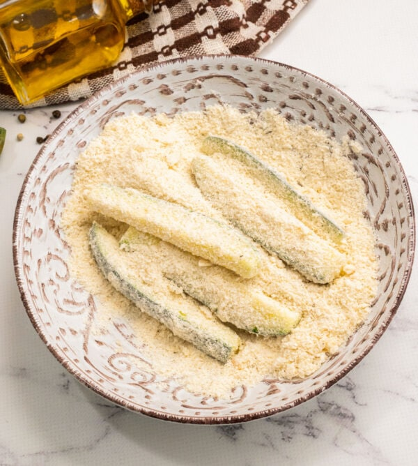 Vegetable spears coated in Panko and Parmesan
