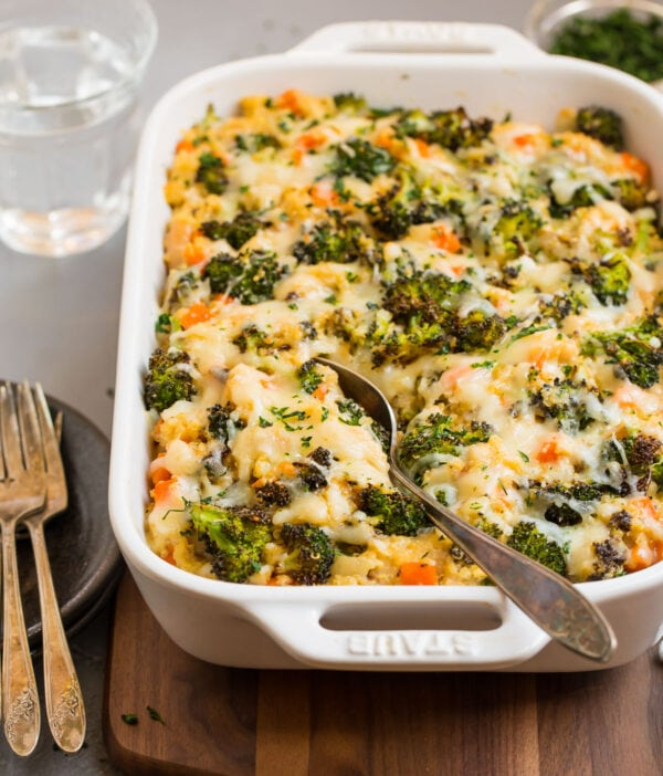 Easy broccoli quinoa casserole with melted cheese