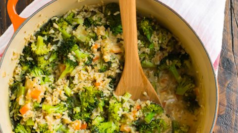 Broccoli rice casserole in a Dutch oven