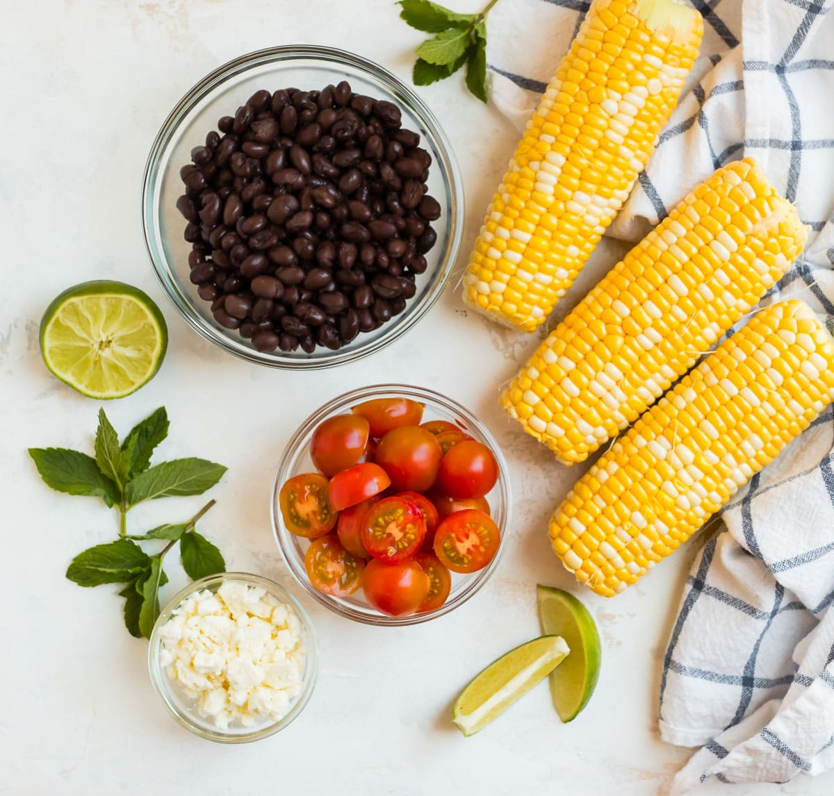 Ingredients to make black bean corn salad