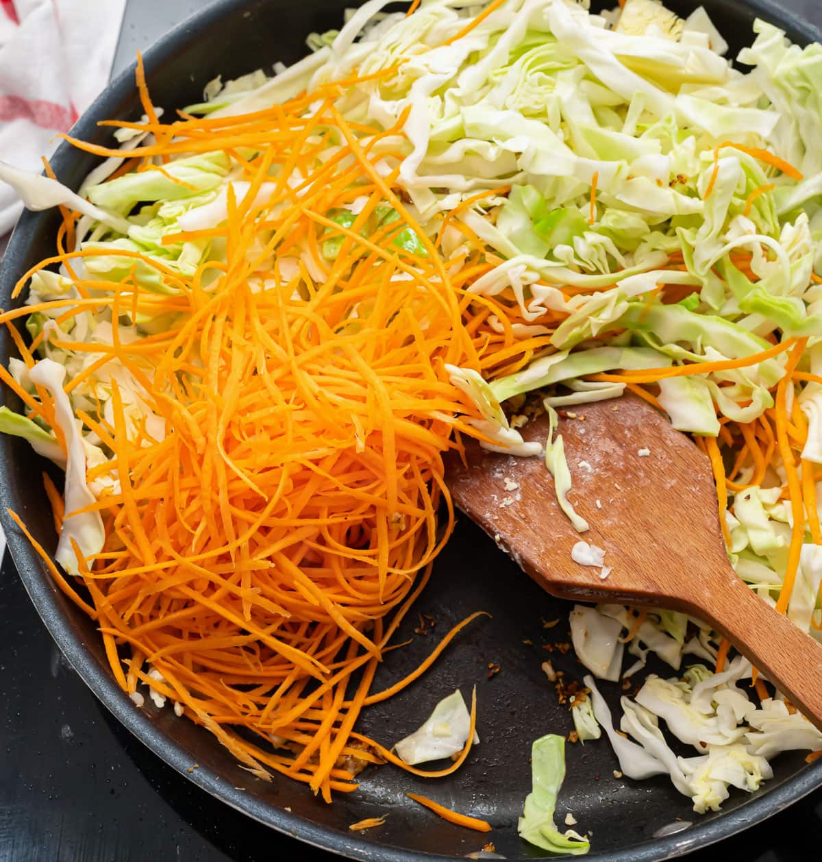 Carrots and cabbage in a skillet